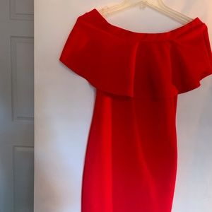 Dress Red cold shoulder style